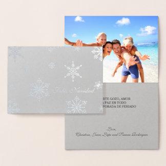 Silberne Folien-elegantes Skript Feliz Navidad Folienkarte