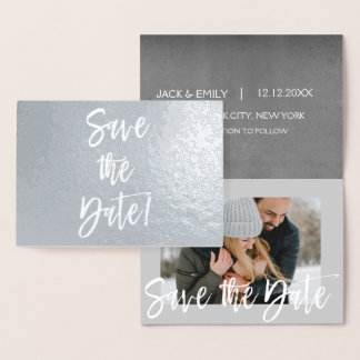 Silberne Folien-Foto-Save the Date Karte