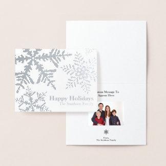 Silberne Folien-Schneeflocke-Foto innerhalb der Folienkarte