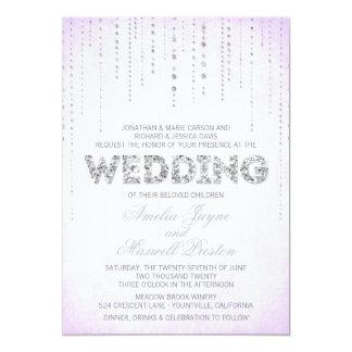 Silberne Glitter-Blick-Hochzeits-Einladung