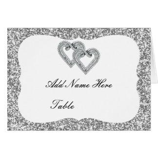 Silberne Glitter-Diamant-Herz-Tabellen-Platzkarte Karte