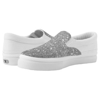 Silberne Glitter-Glitzern Slip-On Sneaker