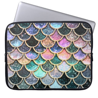 Silberne Glitter-Meerjungfrau-Luxusskalen Laptopschutzhülle