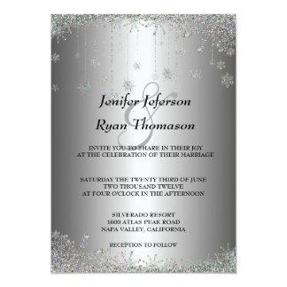 Silberne Glitterschneeflocken, die Einladung