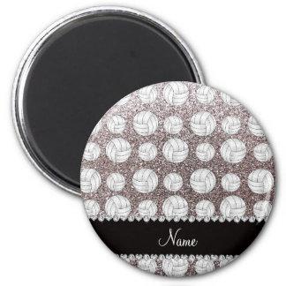 Silberne Glittervolleyball des individuellen Runder Magnet 5,7 Cm