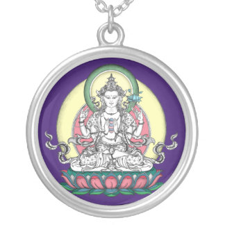 SILBERNE HALSKETTE Avalokiteshvara Chenrezig
