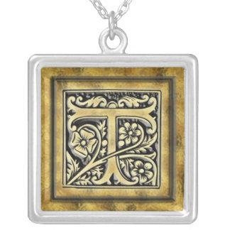 Silberne Halskette der Goth Art-Initialen-T