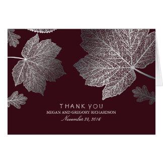 Silberne Herbstlaub-Burgunder-Hochzeit danken Karte