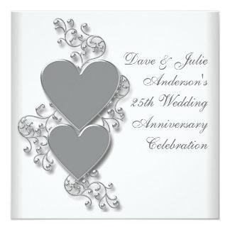 Silberne Herz-25. Hochzeits-Jahrestags-Party Quadratische 13,3 Cm Einladungskarte
