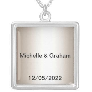 Silberne Hochzeits-Halsketten-Änderung der Text