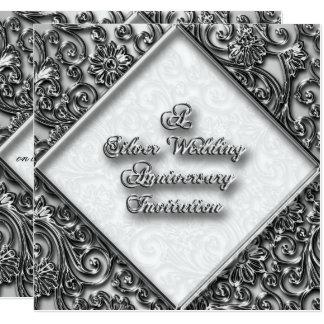 Silberne Hochzeitstag-Einladung Quadratische 13,3 Cm Einladungskarte