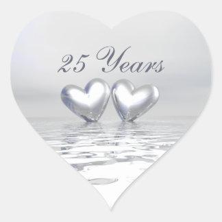 Silberne Jahrestags-Herzen Herz-Aufkleber