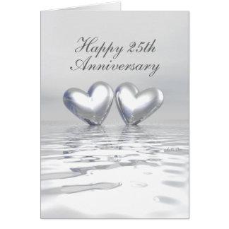 Silberne Jahrestags-Herzen (hoch) Grußkarte
