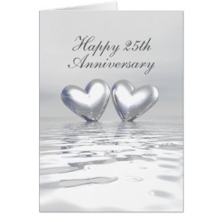 Silberne Jahrestags-Herzen (hoch) Karte