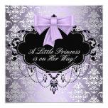 Silberne lila schwarze Mädchen-Dusche Quadratische 13,3 Cm Einladungskarte