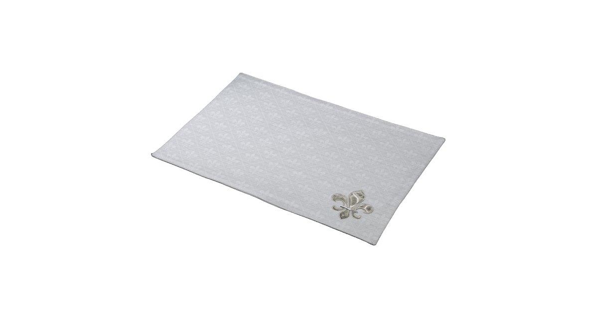 silberne lilien stoff tischsets tisch set zazzle. Black Bedroom Furniture Sets. Home Design Ideas