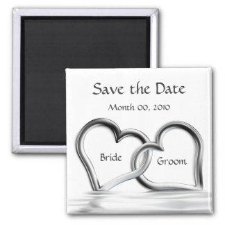Silberne Magneten der Herzen Save the Date Kühlschrankmagnet