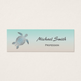 Silberne Meeresschildkröte Mini Visitenkarte