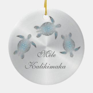 Silberne Meeresschildkröte-Tierhawaiianer Keramik Ornament
