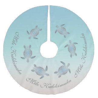 Silberne Meeresschildkröten Mele Kalikimaka Polyester Weihnachtsbaumdecke