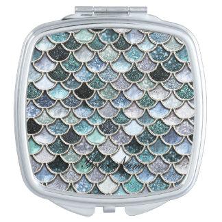 Silberne Metallfolien-Glitter Mermaidscales Skalen Taschenspiegel