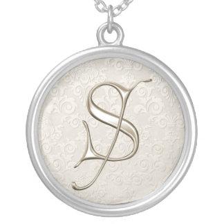Silberne Monogramm-Halskette - Buchstabe S Halskette Mit Rundem Anhänger