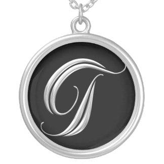 Silberne Monogramm-Halskette - Buchstabe T Halskette Mit Rundem Anhänger