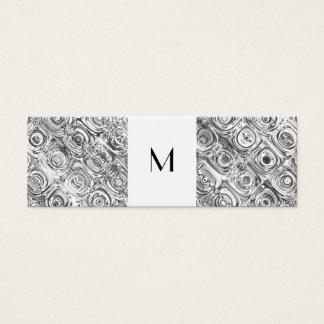 Silberne Muster-Monogramm-Telefonkarte Mini Visitenkarte
