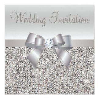 Silberne Paillette-, Bogen-u. Diamant-Hochzeit Quadratische 13,3 Cm Einladungskarte