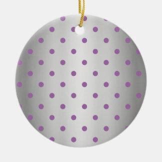 silberne Polkapunkte des eleganten lila Imitats Rundes Keramik Ornament