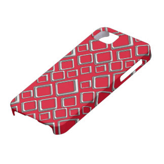 Silberne Quadrate auf roter iPhone 5 Abdeckung iPhone 5 Etui
