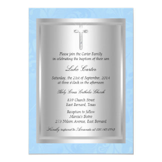 Silberne quere blaue Taufe-Taufe 12,7 X 17,8 Cm Einladungskarte