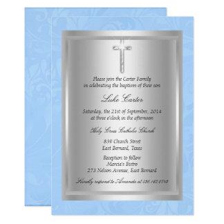 Silberne quere blaue Taufe-Taufe Karte