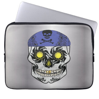 Silberne Radfahrer-Süßigkeits-Schädel-Laptop-Hülse Laptopschutzhülle