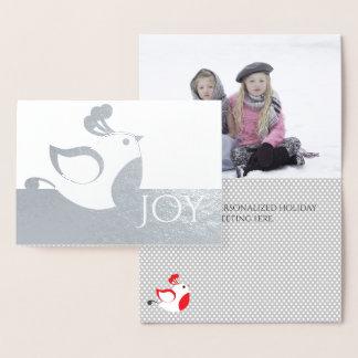 Silberne Rebhuhn-Freude-Foto-Weihnachtskarte Folienkarte
