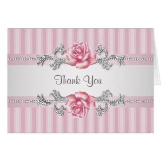 Silberne rosa Rose danken Ihnen Karten