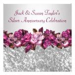 Silberne Rosen-25. Jahrestags-Party Individuelle Einladung
