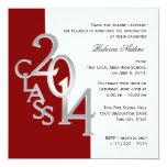Silberne Rot-Foto-Abschluss-Einladung 2014
