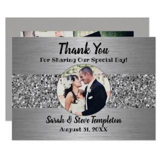 Silberne Schein-Foto-Hochzeit danken Ihnen Karten Karte