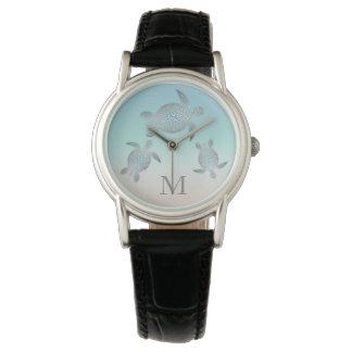 Silberne Schildkröte-Monogramm-Strand-Steigung Armbanduhr
