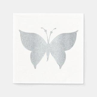 Silberne Schmetterlings-Cocktail-Imbiss-Servietten Serviette