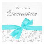 Silberne Schneeflocke-aquamarine Bogen Quinceanera Individuelle Einladungskarte