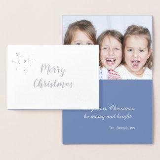 Silberne Schneeflocke-elegantes WeihnachtsFoto Folienkarte