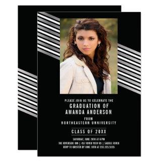 Silberne schwarze Foto-Abschluss-Party Einladung