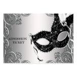 Silberne schwarze Maskerade-Party-Aufnahme-Karten Visitenkartenvorlagen