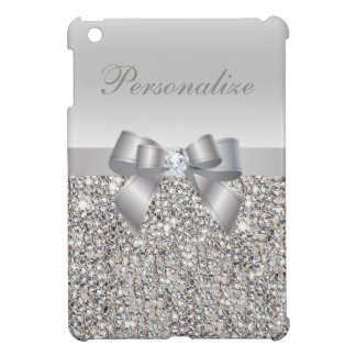 Silberne Sequins, Bogen u. Diamant personalisiert iPad Mini Etuis