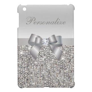 Silberne Sequins, Bogen u. Diamant personalisiert iPad Mini Schale