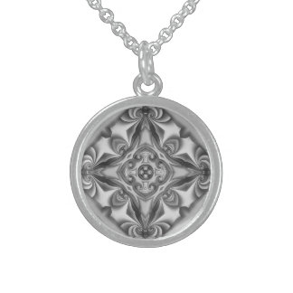 Silberne Silk Mandala-Halskette Sterling Silberkette