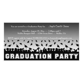 Silberne Steigungs-Abschluss-Party-Silhouette Fotokarte
