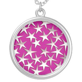 Silberne Sterne auf amethyst Lila Versilberte Kette